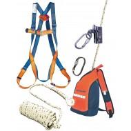 Kit complet harnais + anti chute avec corde 10 m + 2 mousquetons