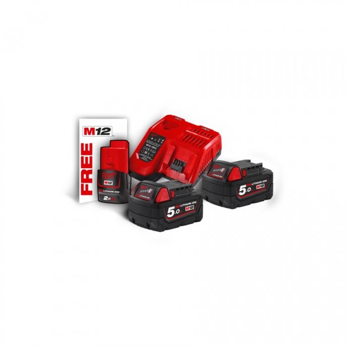M18 NRG-502 - Pack NRJ 18V, 5,0 Ah Red Lithium, système M18 + OFFERT 1 Batterie M12 2,0 Ah