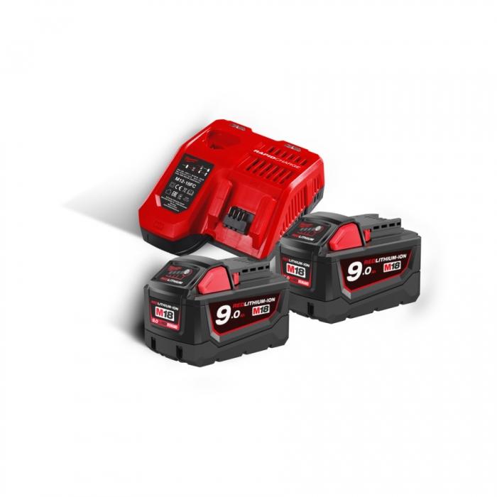 M18 NRG-902 - Pack NRJ 18V, 9,0 Ah Red Lithium, système M18 + OFFERT 1 Batterie M12 4,0 Ah