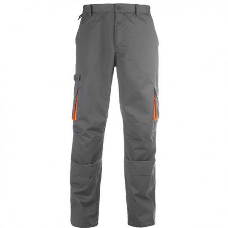 Pantalon de travail gris/orange, coton-poly
