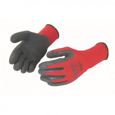 Gants latex gris support nylon rouge