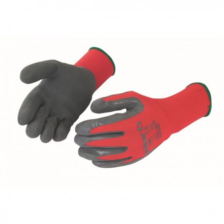 Gants latex gris support nylon rouge