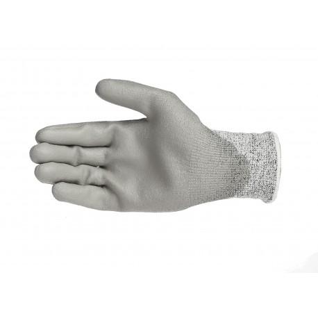 Gants anti-coupure niveau 5, support composite HPPE gris avec enduction PU grise