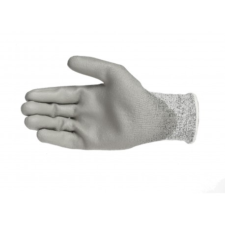 Gants anti-coupure niveau 5, support composite HPPE gris avec enduction PU grise